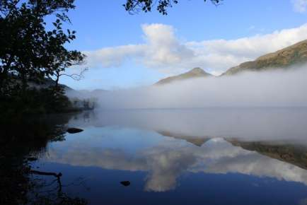 Autumn sunshine is burning off the mist at Llyn Gwynant September 2009