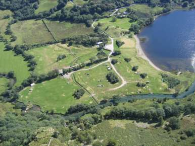 Camping fields and lake looking down from Gallt y Wenallt September 2006