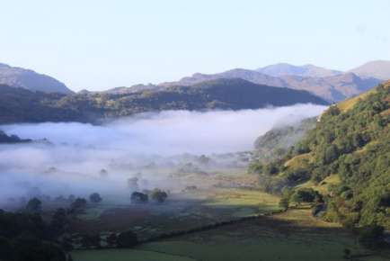 Early morning mist over Llyn Gwynant Campsite September 2009
