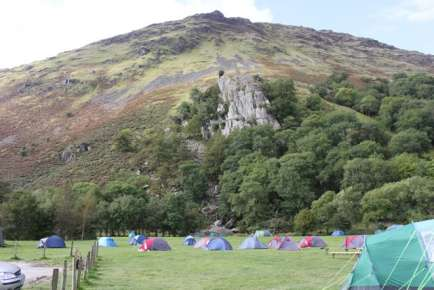 Mountains tower above the camping fields September 2009
